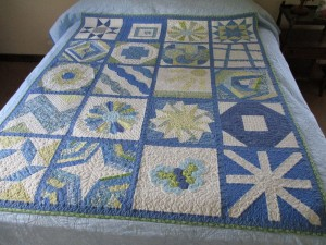 Unique Sampler Quilt, each block quilted differently, one of a kind home decor, fresh and summery