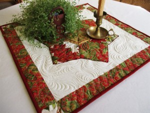 Christmas Table Topper in traditional Red and White with Poinsettias