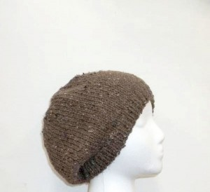 Knit Beanie hat brown acrylic Beret, hand knit
