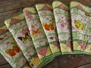 Six Quilted Butterfly Placemats, Large Summer Table Mats, Great Mother's Day Gift