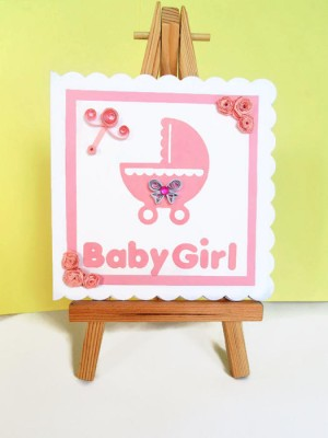 Quilled new baby girl card