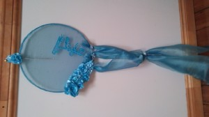 Shabby chic blue organza and satin dream catcher