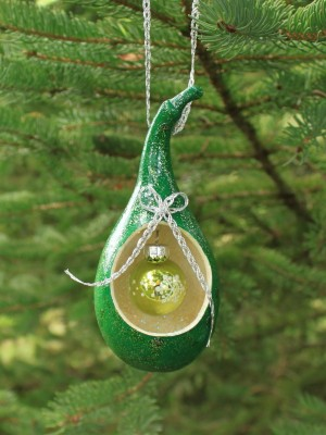 Glittery Green Gourd Ornament with Hanging Glass Ornament Inside