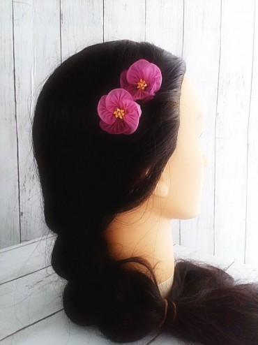 Pink-Buttercup-Hair-Pins-Kanzashi-Flower-Wedding-Floral-Accessories-Bride-Bridesmaid-Hair_5