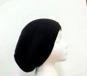 Black slouchy beanie hat knitted men or women large size