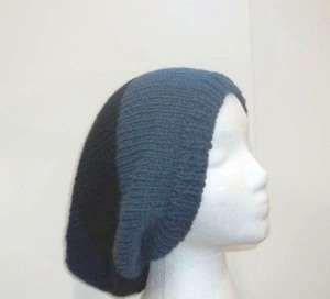 Slouch hat beanie shades of blue and black