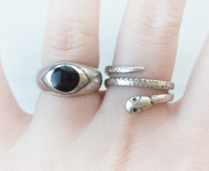 Snake ring and eye ring, sterling silver, vintage, onyx, cute, stacking
