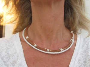 Tribal chic wedding necklace, White leather boho necklace, Double layer choker