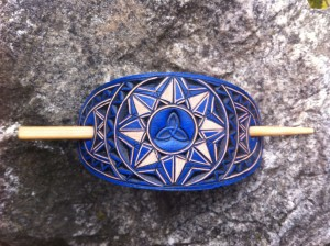 Blue Triquetra hand carved leather hair barrette