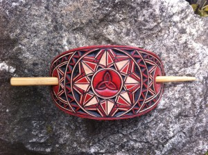 Red geometric triquetra hand carved leather hair barrette