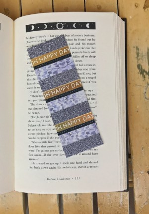 Glittery Silver Oh Happy Day Bookmark