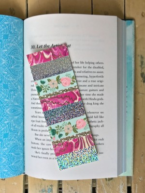 Pink marbled, holographic, and floral bookmark