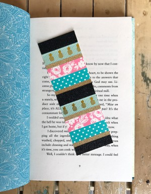 Blue, black glitter, pink and gold bookmark
