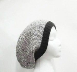 Slouch hat gray with marble flecks and black brim , handmade