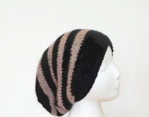 Slouchy beanie hat black and brown