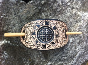Black geometric celtic knot hand carved leather hair barrette