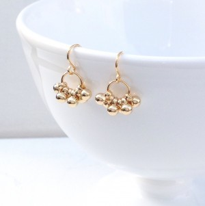 Gold Cluster Earrings – Gold Dangle Earrings – Gold Drop Earrings