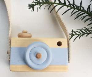 Wooden Toy  Camera Blue