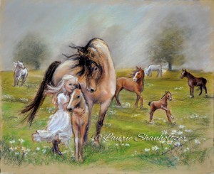 """""""Dreams of Horses"""" Flat archival canvas or paper print"""