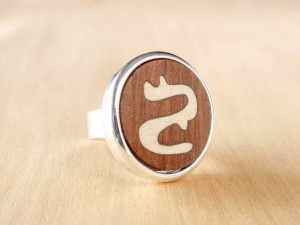 Ring with Wood inlay and silver plated.