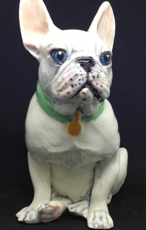French Bulldog Beethoven porcelain dog sculpture