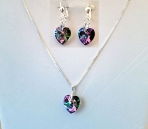 Swarovski 'Northern Lights' Heart Necklace and Earrings