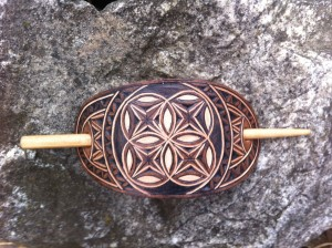 Sacred geometry hand carved leather hair barrette