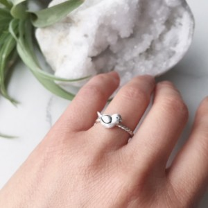 Put A Bird On It, Silver Bird Ring, Animal Jewelry, Dainty Bird Ring, Stacking Ring, Size 5.5 Sterling, Tiny Baby Bird, Spirit Animal Totem