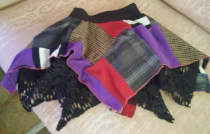 Patchwork Upcycled Skirt- Toddler Size 2T/3T- Red/Purple/Brown and Black Plaid- Black Lace Underlayer- Elastic Waistband Active Photos