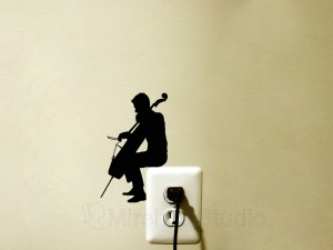 man playing cello decal