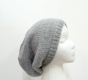 Slouchy beanie hat, gray, hand knitted