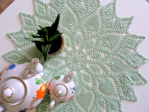 Mint pineapple crochet doily Handmade green round cotton tablecloth doily Tea table topper Centerpiece