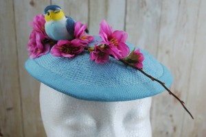 1950's style sky blue cocktail hat with cherry blossom and bluebird trim
