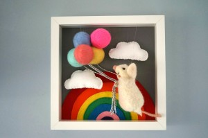 Rainbow Mouse, Gifts-For-Girls, Gift-For-Mother, 1 Year Old Girl Gift, Needle Felted Mouse, Needle Felted Balloon Mouse, Needle Felt Animal