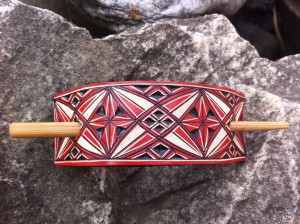 Geometric red hand carved leather hair barrette