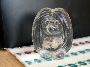 Crystal glass troll sculpture Gnome collectible figurine Bergdala Swedish vintage art glass troll