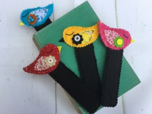 Felted Bookmarks, Wool Felt and Cotton Fabric, Bird Detail, Button Embellishment, Handstitched, Gift, Reading Accessory