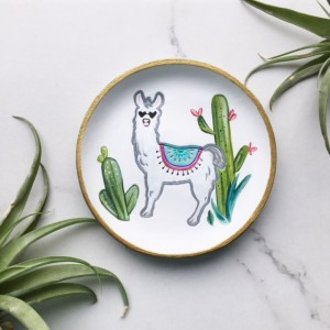 Llama Gift, Cactus Dish, Southwest Decor, Llama Art, Whimsical Ring Dish, Animal Lover Gift, Home Accent, Housewarming Gift, Llama Painting