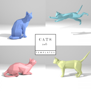 Printable DIY template (PDF). Cats Set low poly paper model templates. 3D paper sculpture. Origami. Papercraft. Cardboard animal.
