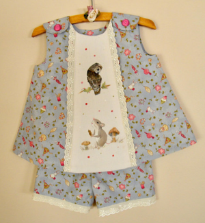 Cotton playsuit for one year old, hand painted owl