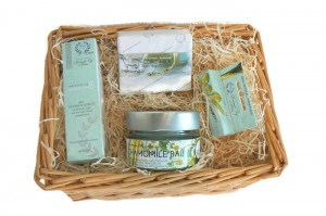 Beautiful basket filled with luxurious natural cosmetics. This basket is the perfect gift for any woman!