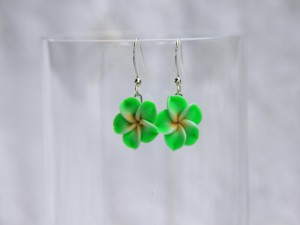 Green Plumeria Flower Earrings, Polymer Clay Flower Earrings