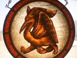 Medieval, Gothic Ornament, Fabulous Beast, Stained Glass Art