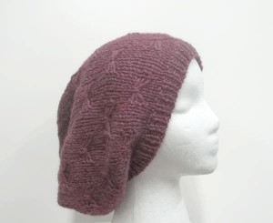 Oversized beanie soft rose slouch hat in bow pattern
