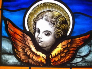 Cherub painted stained glass window, little Angel