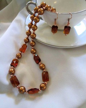 Copper Freshwater Pearls and Amber Glass Beaded Necklace and Earrings|