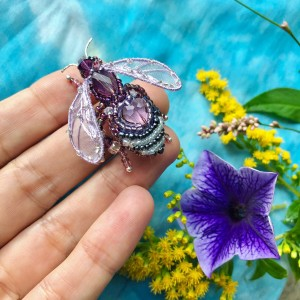 Purple bee brooch