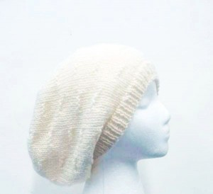 White wool knitted slouchy beanie hat