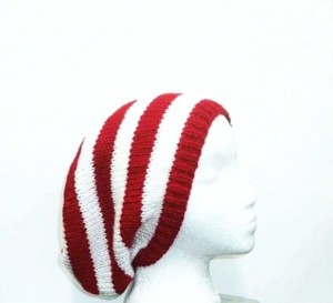 Slouchy hat red white small stripes beanie knitted hat