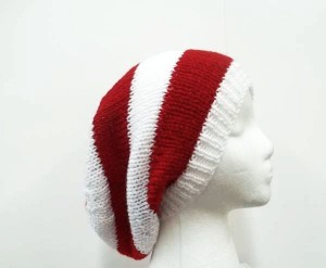 Slouchy beanie hat red white stripes sale